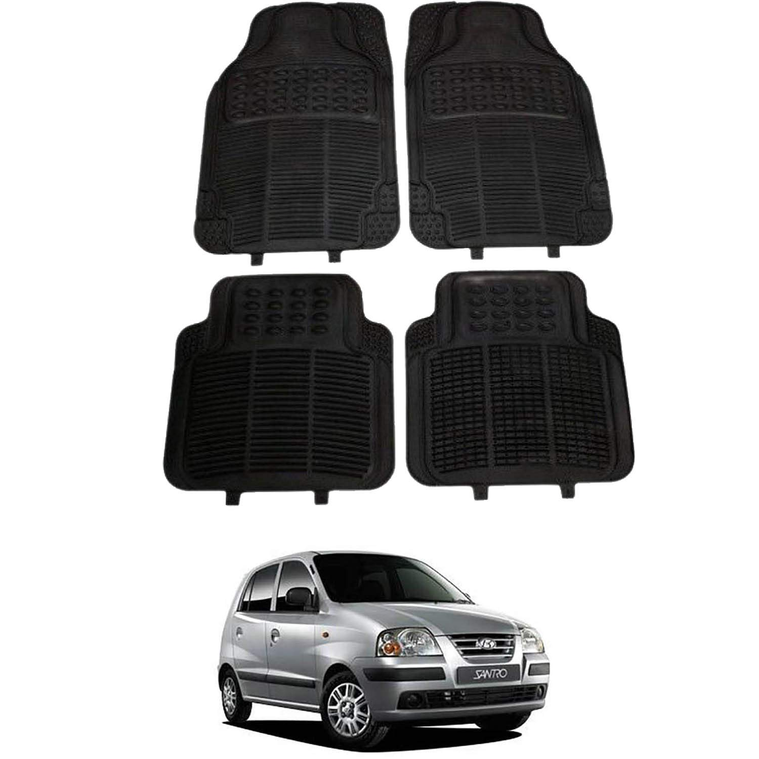 RONISH Black Rubber car Floor Foot mat for Santro