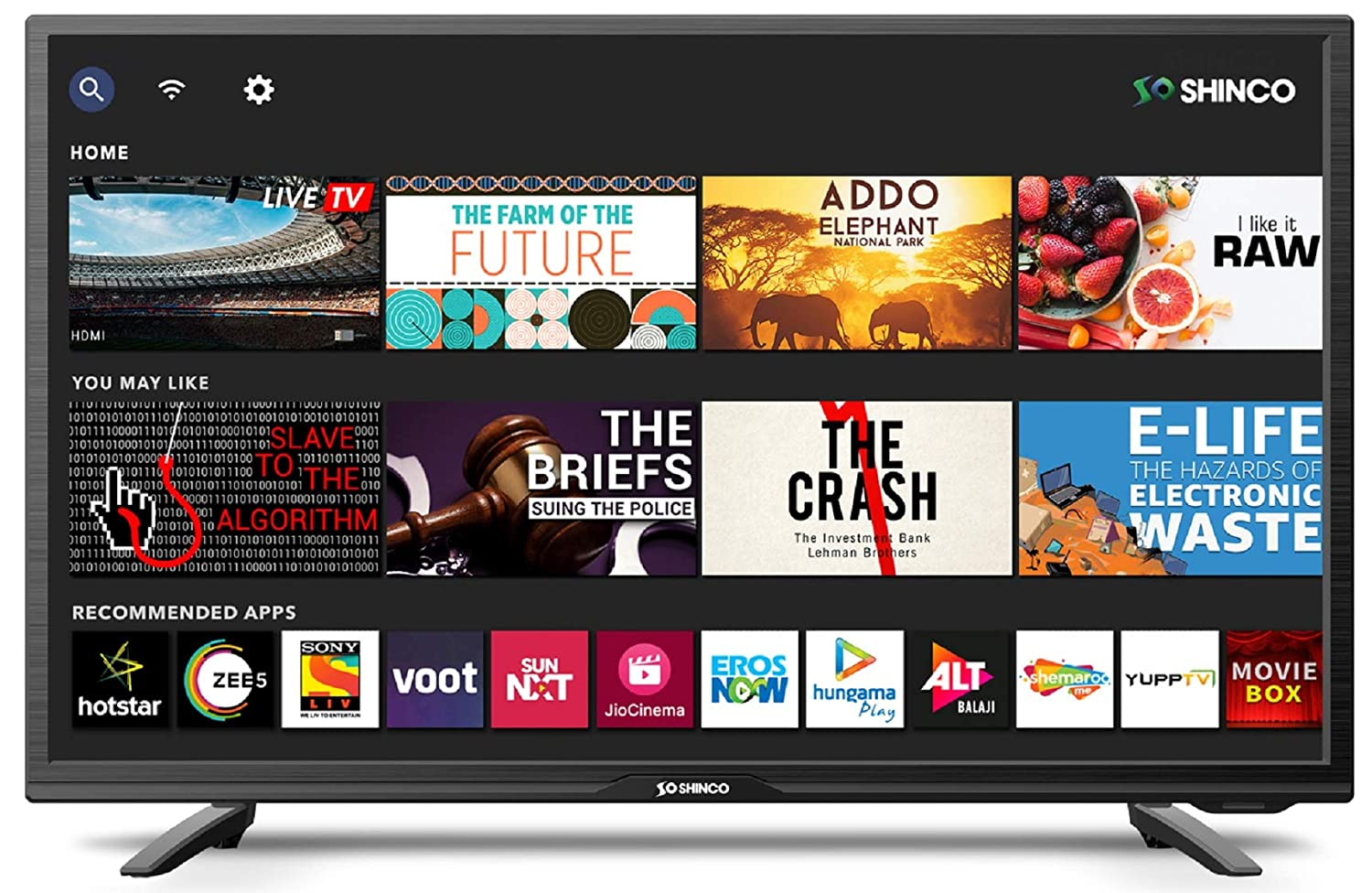 Shinco 80 cm (32 Inches) HD Ready Smart LED TV with Uniwall (Black) (2019 Model)