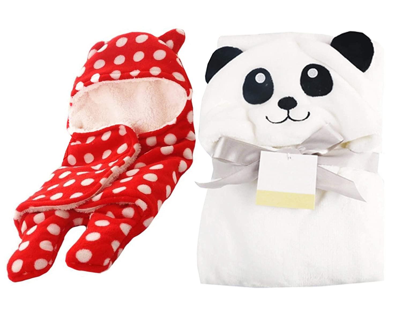 MY NEWBORN Baby Soft Flannel Blanket Cum Wrapper (Panda-RedSheet)