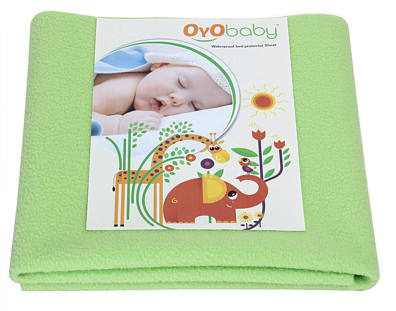 OYO BABY – Soft, Cosy, Quick Dry Water-Proof & Reusable Mat (Size: 70cm X 50cm) (28inch X 19inch) (Small) (Light Green)